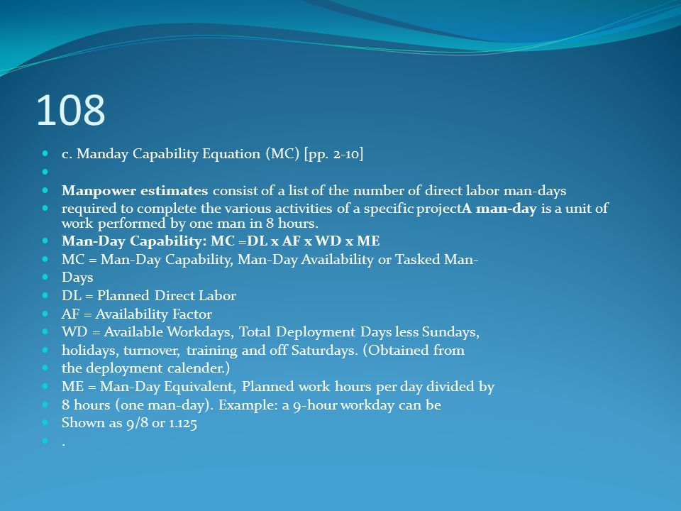 108 c. Manday Capability Equation (MC) [pp. 2-10]